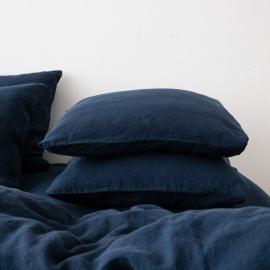 Vorgewaschener marineblau Leinen-Kopfkissenbezug