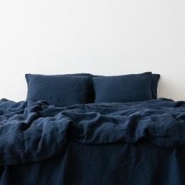 Vorgewaschenes marineblau Leinen-Duvet