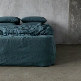 Balsam Grün Leinen Bettlaken mit Gummizug Stone Washed