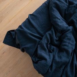 Vorgewaschenes marineblauem Leinen-Bettlaken