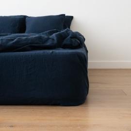 Navy Blau Leinen Bettlaken mit Gummizug Stone Washed