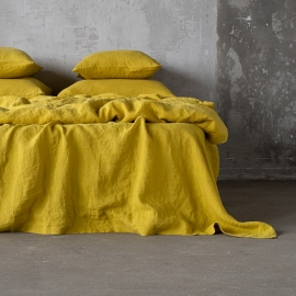 Vorgewaschenes zitrin Leinen-Bettlaken