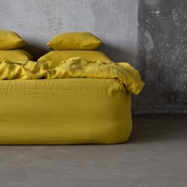 Zitrin Leinen Bettlaken mit Gummizug Stone Washed