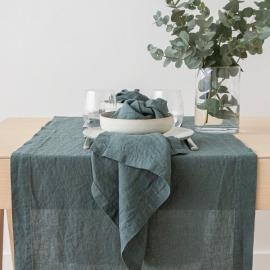 Stonewashed Balsam Green Leinen Tischläufer