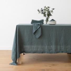 Balsam Grün Leinentischdecke Stone Washed
