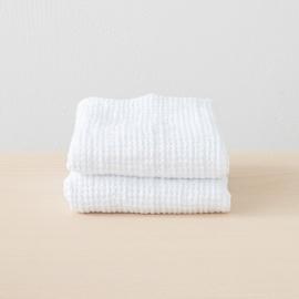 Set 2 Handtüchern Gewaschenes Waffelpique White