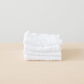Leinen Waffel Big Waschlappen Set White