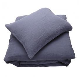 Blaubeere Leinen Bettset Stone Washed