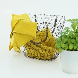 Set von 2 Stein Gewaschen Leinen Tee Handtücher Zitrin