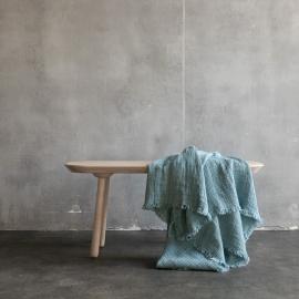 Gewaschenes Waffelpique Fransig Leinen Plaid Stone Blue