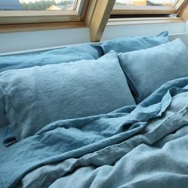 Vorgewaschener rhomb stone blau Leinen-Kopfkissenbezug