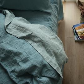 Vorgewaschenes Rhomb Stone Blau Leinen-Bettlaken