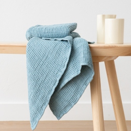 Set 2 Handtüchern Gewaschenes Waffelpique Stone Blue
