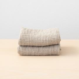 Set 2 Handtüchern Gewaschenes Waffelpique Natural