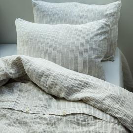 Bettbezug naturweiß leinen Vorgewashene Gestreifte bettwasche