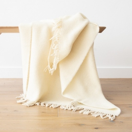 Elfenbeinfarbener Wolldecke aus reiner Wolle Paula