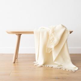 Wolldecke aus elfenbeinfarbener, reiner Wolle Paula