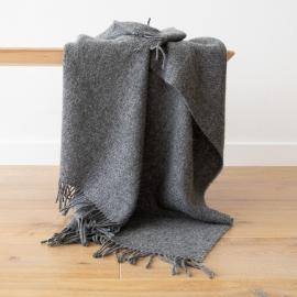 Graue Wolldecke aus reiner Wolle Paula
