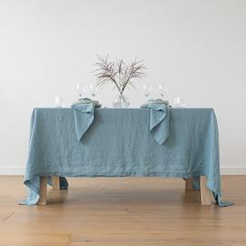Tischdecke Leinen Stone Washed Stone Blue