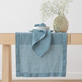 Tischläufer Leinen Stone Washed Stone Blue