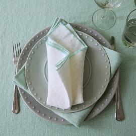 Leinen Serviette Venezia Off White Mint