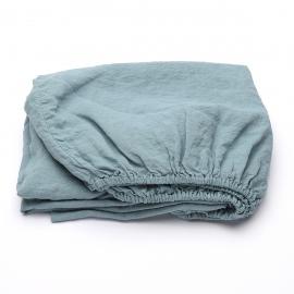 Stone Blau Leinen Bettlaken mit Gummizug Stone Washed