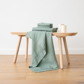 Spa Green Leinen Badetuch Wafer und Handtücher Washed