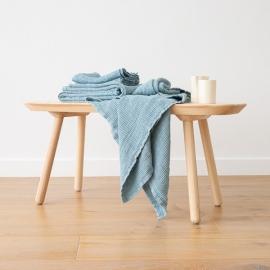 Leinen-Badetuchset Gewaschenes Waffelpique Stone Blue