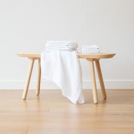 Leinen-Badetuchset Gewaschenes Waffelpique White