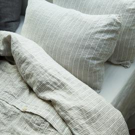 Set aus Gestreifte, Naturweiß Bettwäsche