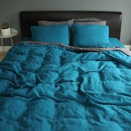 Vorgewaschenes Marine Blue Leinen Bettbezug