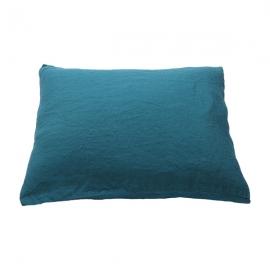 Vorgewaschener Marine Blue Leinen-Kopfkissenbezug