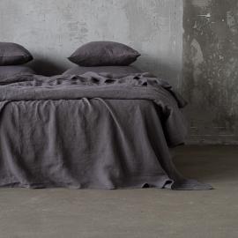 Steel Grau Leinen Bettlaken Stone Washed