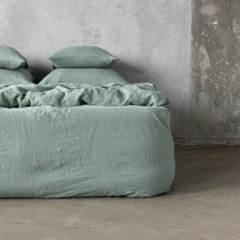 Spa Grün Leinen Bettlaken mit Gummizug Stone Washed