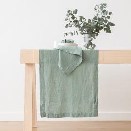 Stonewashed Spa Green Leinen Tischläufer