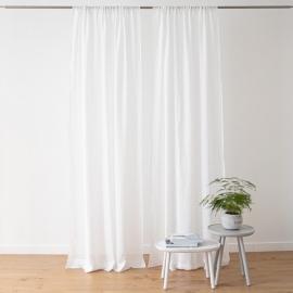 Leinen Garza Vorhang mit Tunnelzug  Weiß