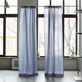 Leinen Garza Vorhang mit Tunnelzug  Folkstone Grau