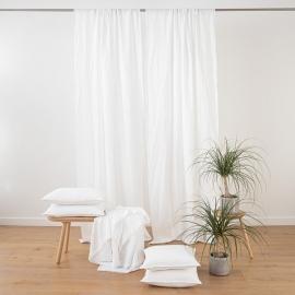 Stone Washed Leinenvorhang mit Tunnelzug Weiß