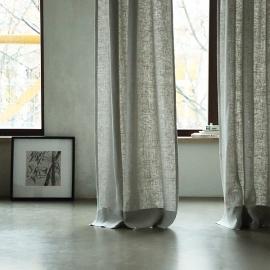 Lara Leinenvorhang mit Faltenband Silber