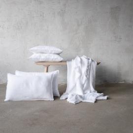Stone Washed Leinen Kissenbezug weiß