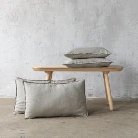 Taupe Leinen Kissenbezug Stone Washed