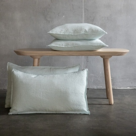 Stone Washed Leinen Kissenbezug Eisblau