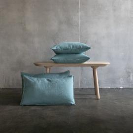 Stone Washed Leinen Kissenbezug Steinblau