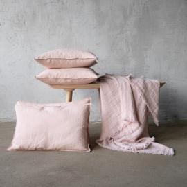 Stone Washed Leinen Kissenbezug Rosa