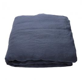 Indigo Leinen Bettlaken Stone Washed