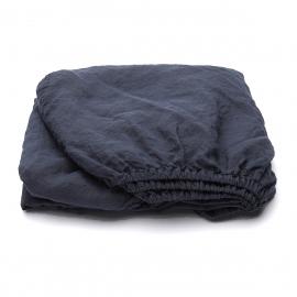 Indigo Leinen Bettlaken mit Gummizug Stone Washed