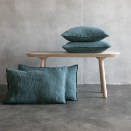 Balsam Grün Leinen Kissenbezug Stone Washed