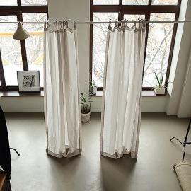 Stone Washed Leinenvorhang mit Schlaufen Silber