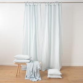 Stone Washed Leinenvorhang mit Schlaufen Eisblau