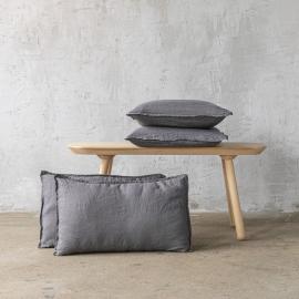 Steel Grau Leinen Kissenbezug Stone Washed